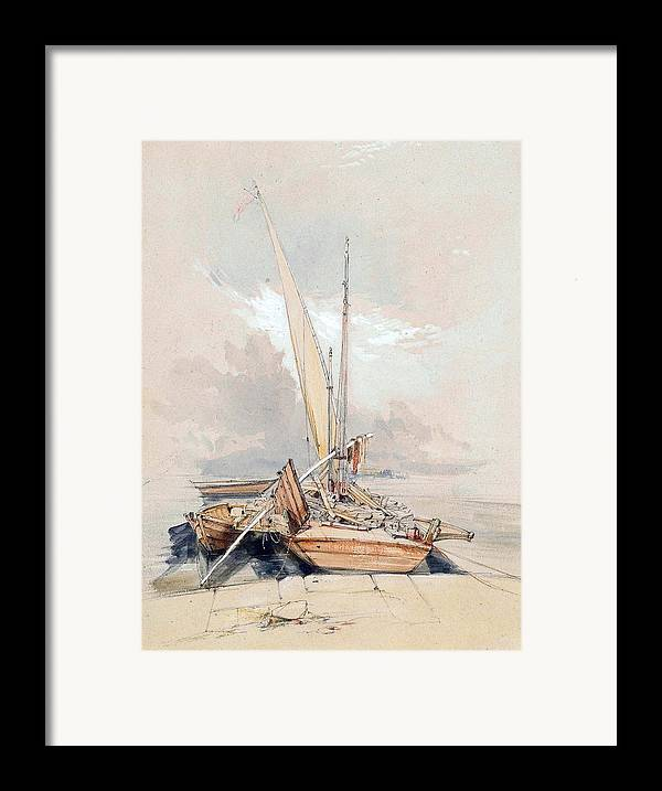 Boats Framed Print featuring the painting Boats At Quayside Lake Geneva by James Holland