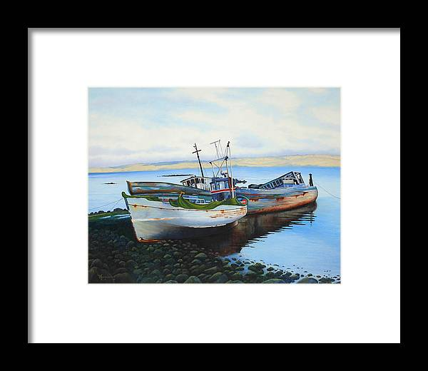 Old Boats Framed Print featuring the painting Boats At Rest by Barbara Jorgensen