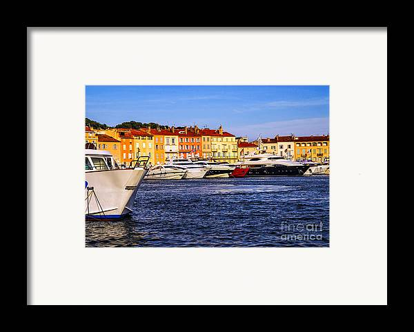 Yacht Framed Print featuring the photograph Boats At St.tropez Harbor by Elena Elisseeva