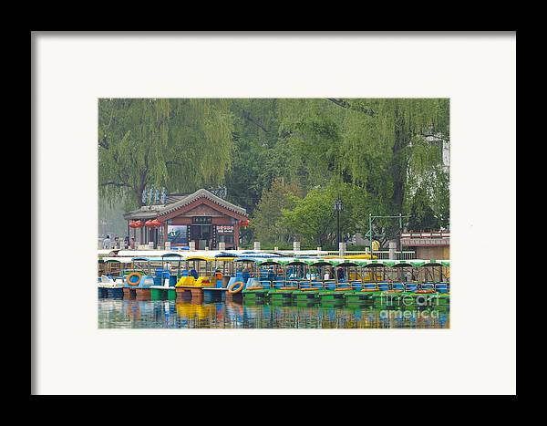 Asian Architecture Framed Print featuring the photograph Boats In A Park, Beijing by John Shaw