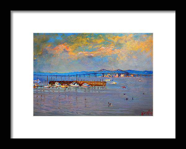 Piermont Ny Framed Print featuring the painting Boats in Piermont harbor NY by Ylli Haruni