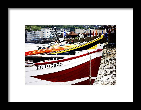 Boat Framed Print featuring the photograph Boats On A French Beach by Katie Dillon