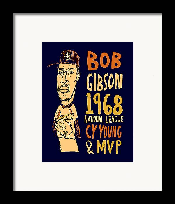 Bob Gibson Framed Print featuring the mixed media Bob Gibson St Louis Cardinals by Jay Perkins
