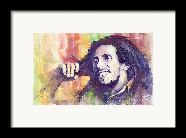Watercolour Framed Print featuring the painting Bob Marley 02 by Yuriy Shevchuk