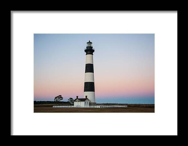 Evening Sunset Framed Print featuring the photograph Bodie Island Lighthouse - A by Gail Stephenson