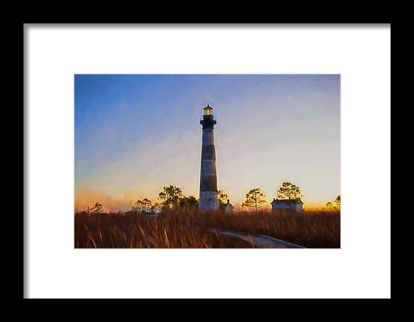 Evening Sunset Framed Print featuring the photograph Bodie Island Lighthouse - D by Gail Stephenson