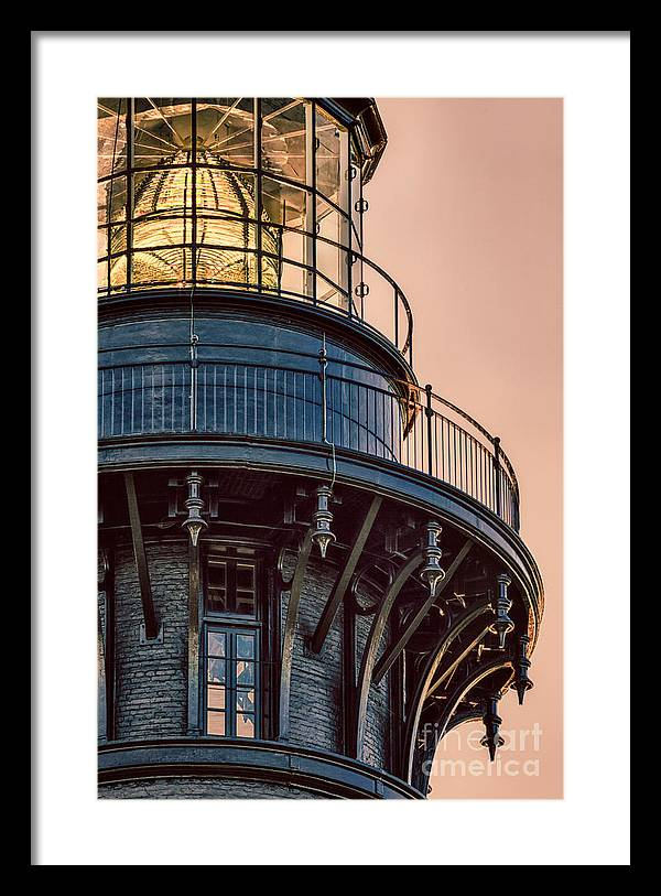 Bodie Island Lighthouse Framed Print featuring the pyrography Bodie Island Lighthouse Close-up by Dan Waters