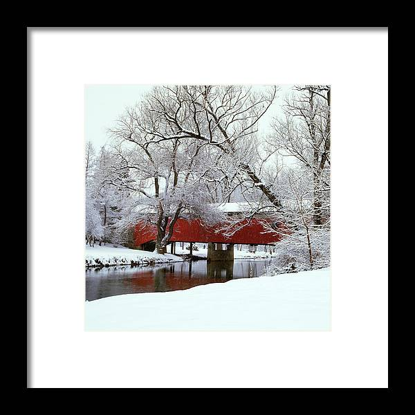 Photography Framed Print featuring the photograph Bogarts Bridge Red Covered Bridge by Vintage Images