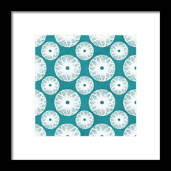 Boho Framed Print featuring the mixed media Boho Floral Blue And White by Linda Woods