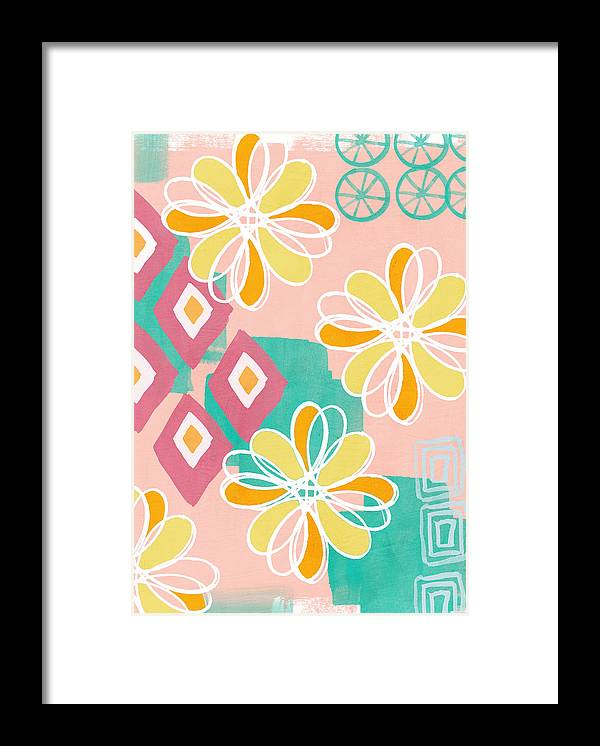 Pink Framed Print featuring the painting Boho Floral Garden by Linda Woods