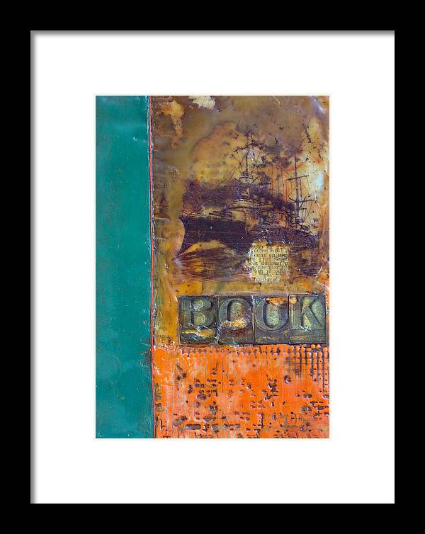 Book Encaustic Framed Print featuring the painting Book Cover Encaustic by Bellesouth Studio