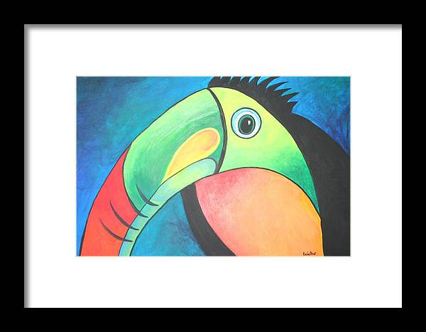 Toucan Framed Print featuring the painting Bold Toucan by Taiche Acrylic Art