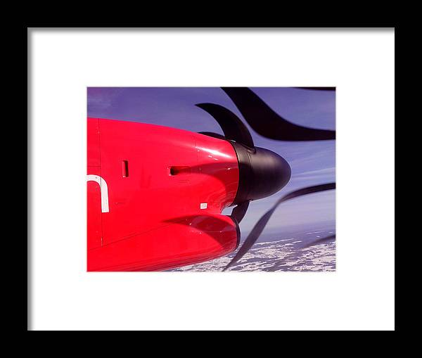 Air Framed Print featuring the digital art Bombardier Propeller Jet by Yury Malkov
