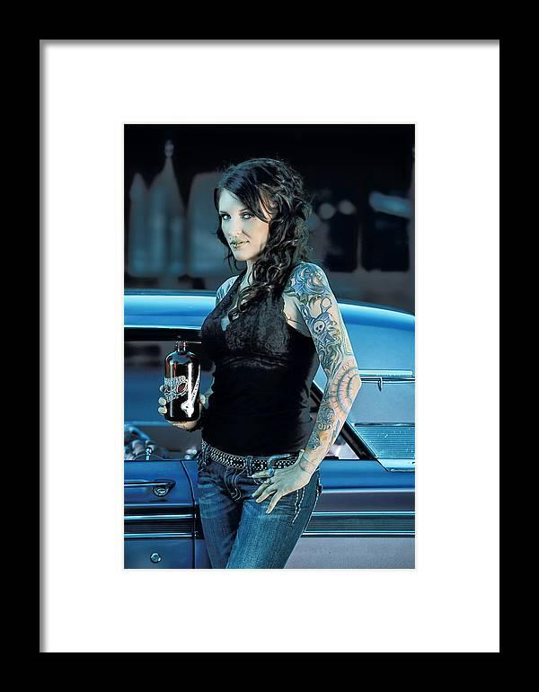 Boneyard Beer Framed Print featuring the photograph Boneyard Girl II by Christian Heeb