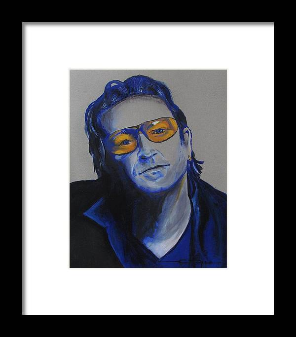 Celebrity Portraits Framed Print featuring the painting Bono U2 by Eric Dee