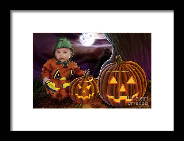 Baby Framed Print featuring the digital art Boo Baby Pumpkins by Peter Awax