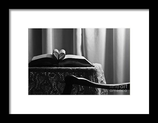 Romantic Framed Print featuring the photograph Book Heart 3 by Robin Lynne Schwind