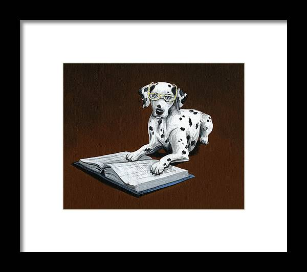 Dalmatian Framed Print featuring the painting Book worm...Dog Art Painting by Amy Giacomelli