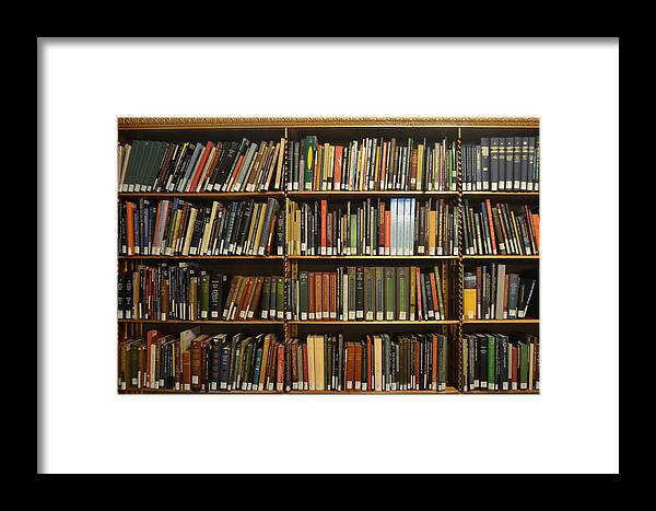 Bookshelf Framed Print featuring the photograph Bookshelves by Philip Ralley