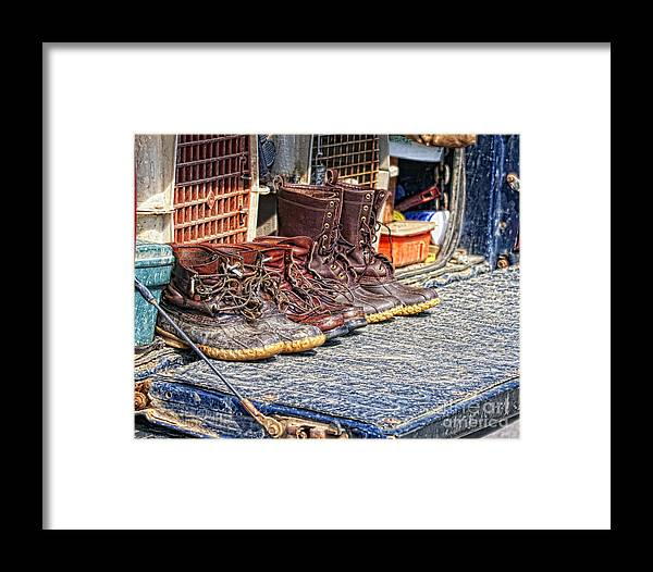 Hunting Framed Print featuring the photograph Boots Lined Up After The Hunt by Timothy Flanigan Debbie Flanigan Nature Exposure