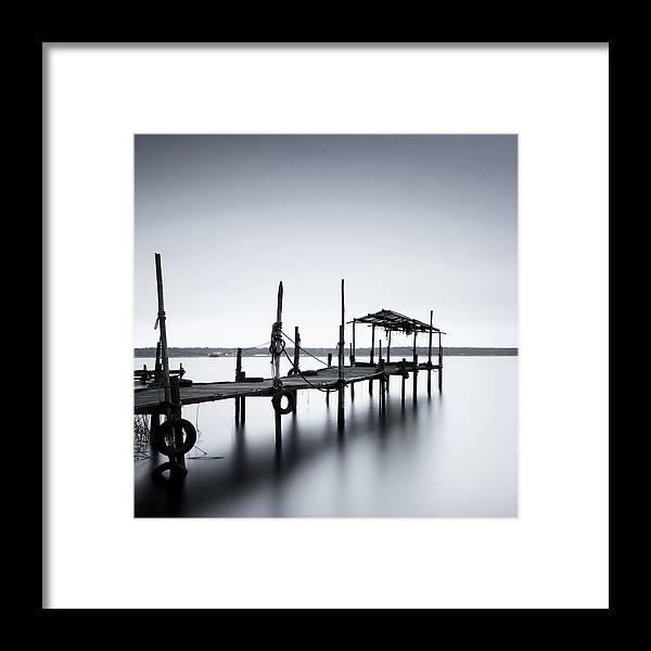 Tranquility Framed Print featuring the photograph Bootssteg Im Alten Hafen Klein Zicker by Spreephoto.de
