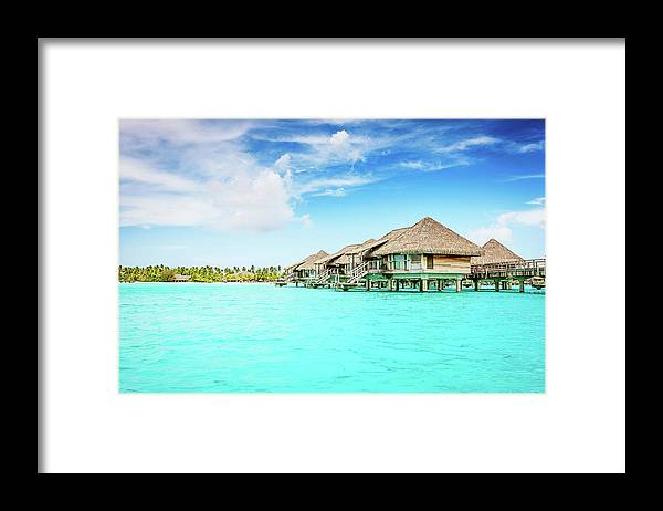 Beach Hut Framed Print featuring the photograph Bora-bora Luxury Dream Holiday by Mlenny