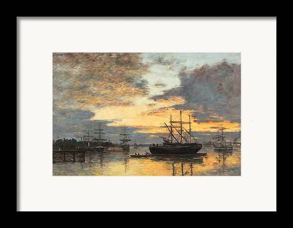 Bordeaux Framed Print featuring the painting Bordeaux In The Harbor by Eugene Louis Boudin