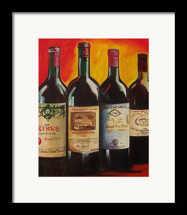 Wine Painting Framed Print featuring the painting Bordeaux by Sheri Chakamian