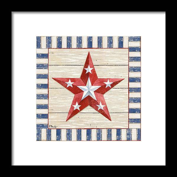 America Framed Print featuring the painting Bordered Patriotic Barn Star Iv by Paul Brent