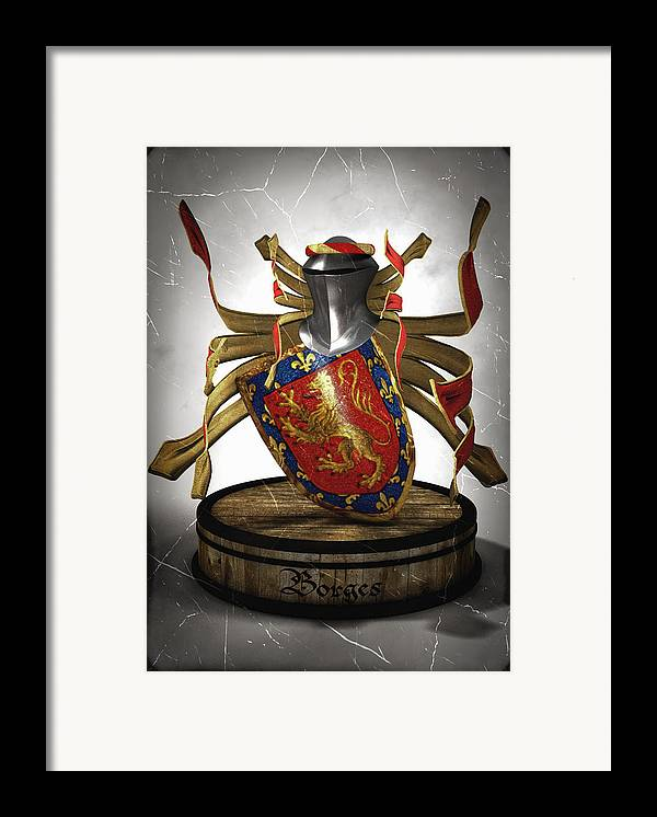 Medieval Framed Print featuring the digital art Borges Family Coat Of Arms by Frederico Borges