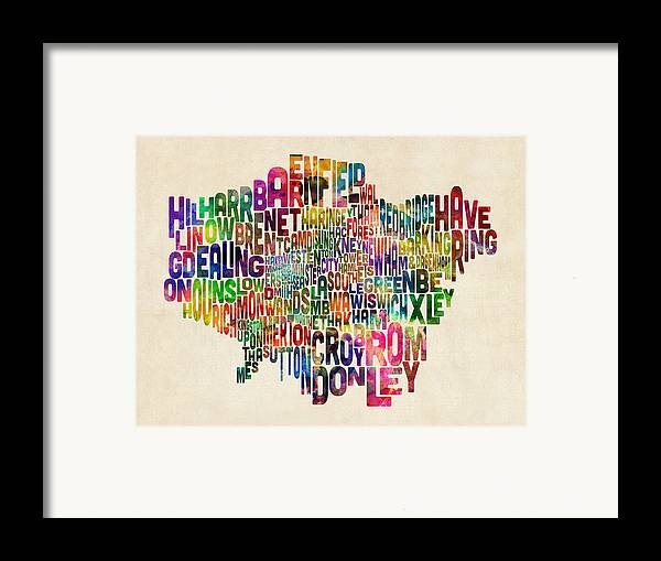 London Framed Print featuring the digital art Boroughs Of London Typography Text Map by Michael Tompsett