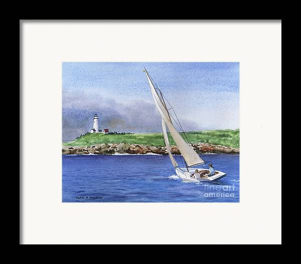 Seascape Framed Print featuring the painting Boston Light by Karol Wyckoff
