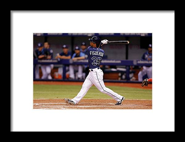 Following Framed Print featuring the photograph Boston Red Sox V Tampa Bay Rays by Mike Carlson