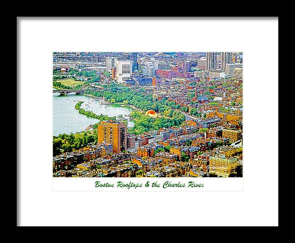 Usa Framed Print featuring the digital art Boston Rooftops And The Charles River by A Gurmankin