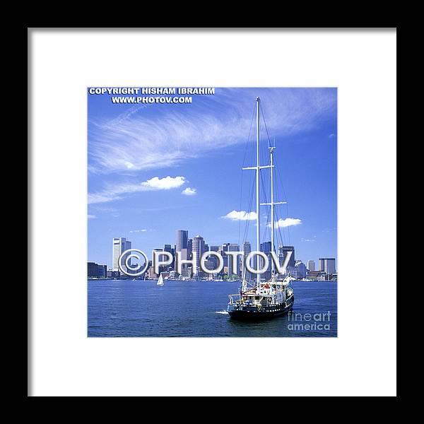 Boston Framed Print featuring the photograph Boston Skyline And Sailboat - Massachusetts - Limited Edition by Hisham Ibrahim