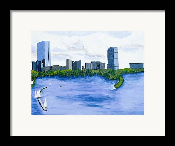 Landscape Framed Print featuring the painting Boston Skyline by Carmela Cattuti