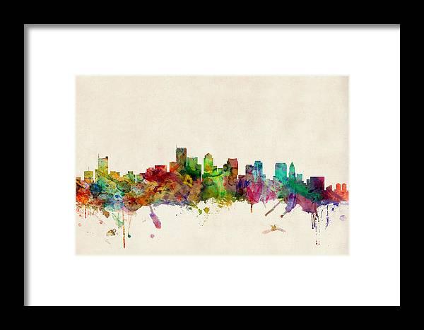 Watercolour Framed Print featuring the digital art Boston Skyline by Michael Tompsett