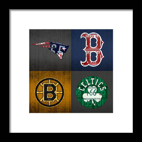 Boston Framed Print featuring the mixed media Boston Sports Fan Recycled Vintage Massachusetts License Plate Art Patriots Red Sox Bruins Celtics by Design Turnpike