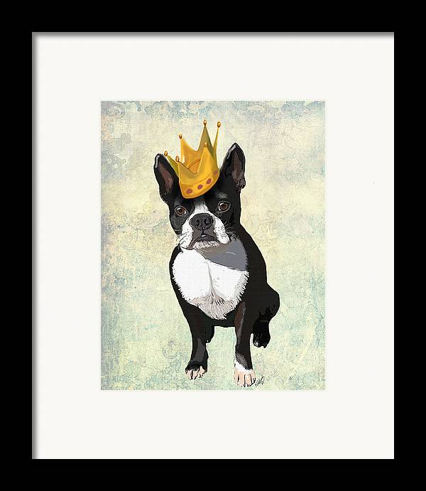 Boston Terrier Framed Prints Framed Print featuring the digital art Boston Terrier With A Crown by Kelly McLaughlan