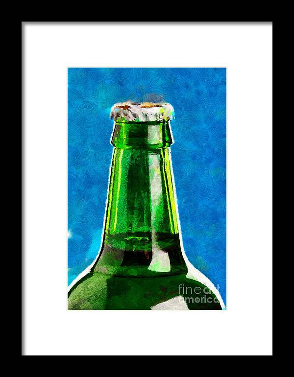 Green Framed Print featuring the digital art Bottle Neck Against Blue Painting by Magomed Magomedagaev