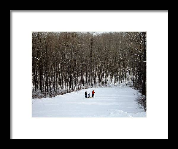 Sledding Framed Print featuring the photograph Bottom Of The Sled Hill by Linda Kerkau