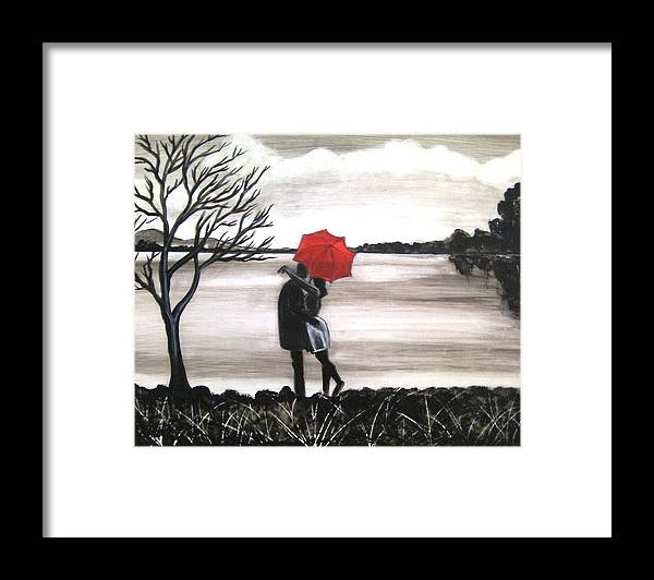Love Valentine Romance Romantic Framed Print featuring the painting Bound by Love by Manjiri Kanvinde