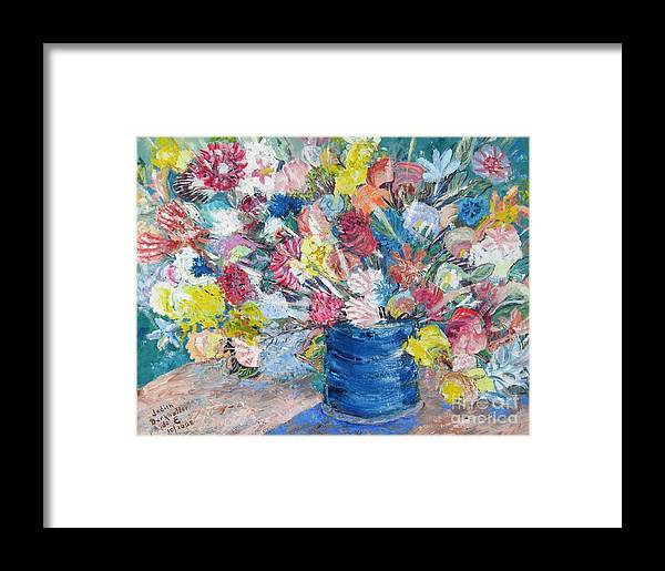 Flowers Framed Print featuring the painting Bouquet 1 - Sold by Judith Espinoza