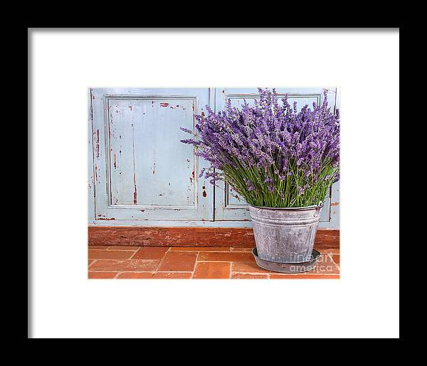 Lavender Framed Print featuring the photograph Bouquet Of Lavender In A Rustic Setting by Anna-Mari West