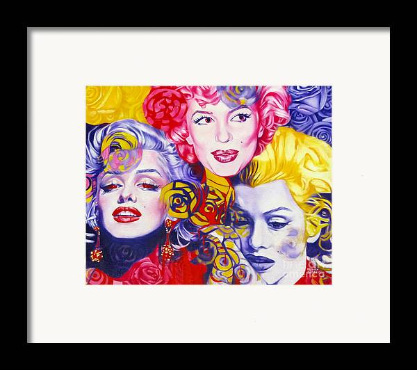 Marilyn Monroe Framed Print featuring the painting Bouquet Of Marilyn by Rebecca Glaze