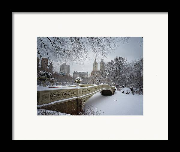 Landscape Framed Print featuring the photograph Bow Bridge Central Park In Winter by Vivienne Gucwa