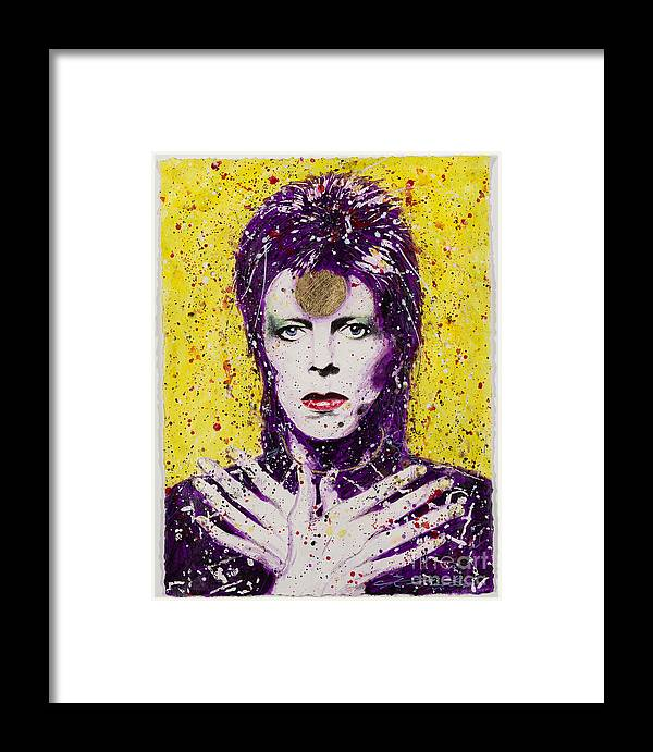 David Framed Print featuring the painting Bowie by Chris Mackie