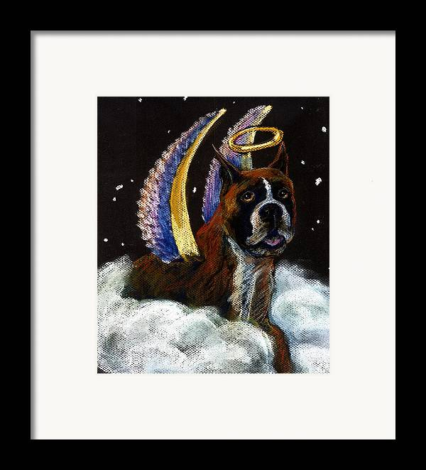 Boxer Framed Print featuring the pastel Boxer Angel by Darlene Grubbs