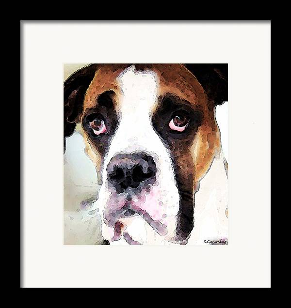 Boxer Framed Print featuring the painting Boxer Art - Sad Eyes by Sharon Cummings
