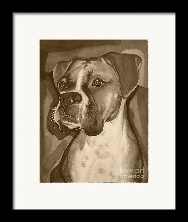 Boxer Framed Print featuring the painting Boxer Dog Sepia Print by Robyn Saunders